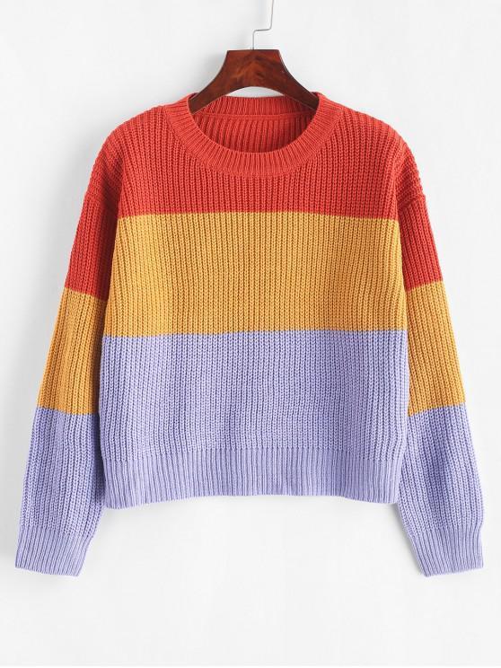 trendy ZAFUL Color Block Striped Sweater - MULTI-F ONE SIZE