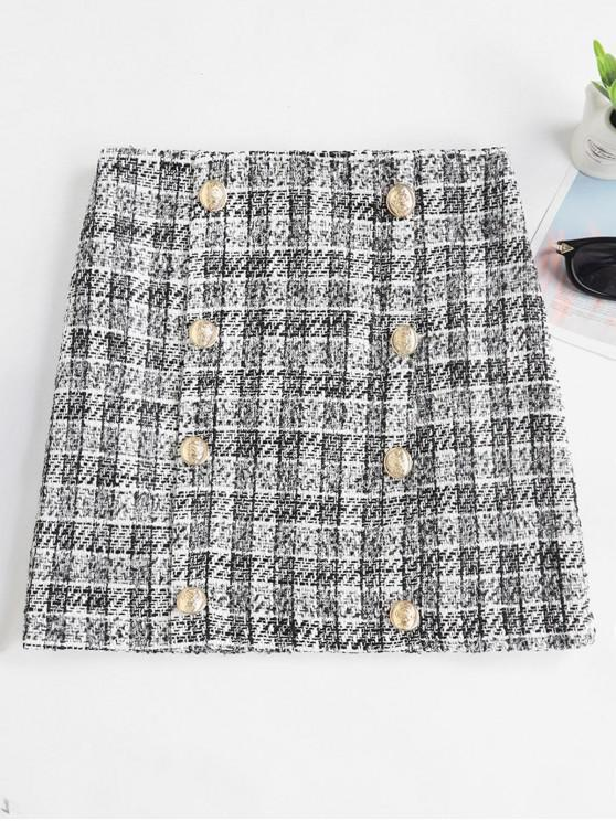 shops Tweed Button Embellished Mini Skirt - WHITE S