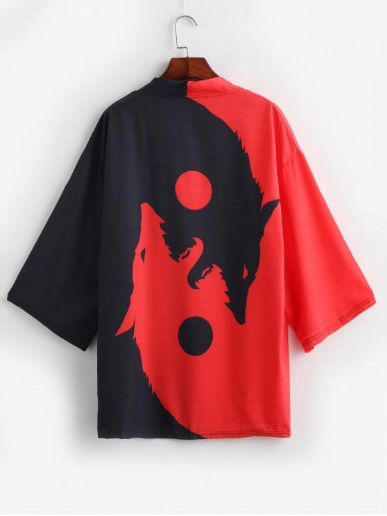 womens Roaring Moon Wolf Print Open Front Kimono Cardigan - RED S