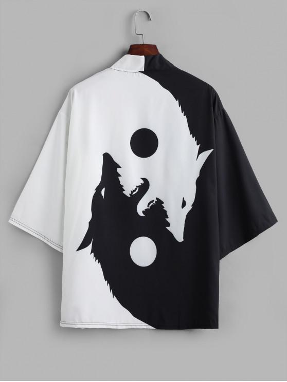 Cardigan Kimono Ouvert en Avant Lune et Loup Imprimés - Noir M