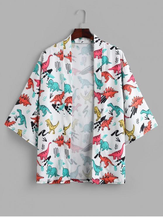 fashion Cartoon Dinosaur Allover Print Open Front Kimono Cardigan - MULTI XL