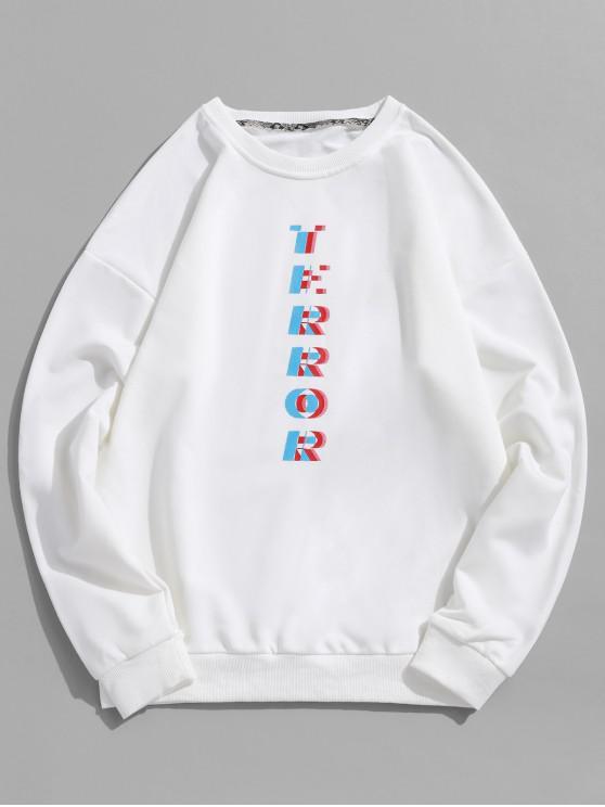 shop Drop Shoulder Terror Graphic Sweatshirt - WHITE L