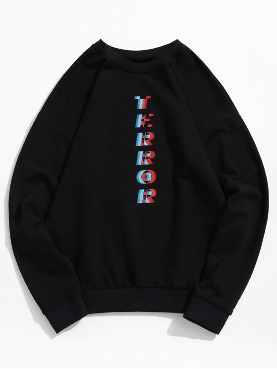 trendy Drop Shoulder Terror Graphic Sweatshirt - BLACK M