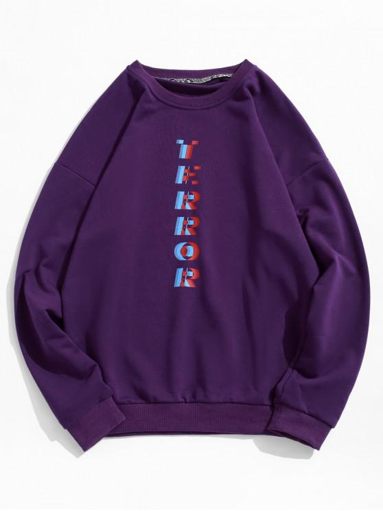 buy Drop Shoulder Terror Graphic Sweatshirt - PURPLE 2XL