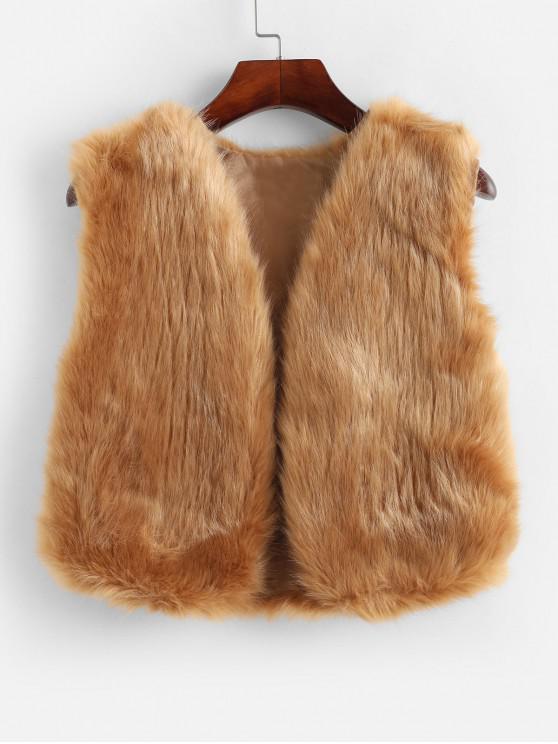 Chaleco de piel sintética con frente abierto sólido - Camel Marrón L