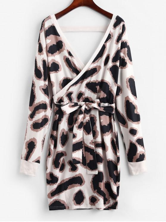 womens Graphic Belted Surplice Sheath Dress - MULTI M