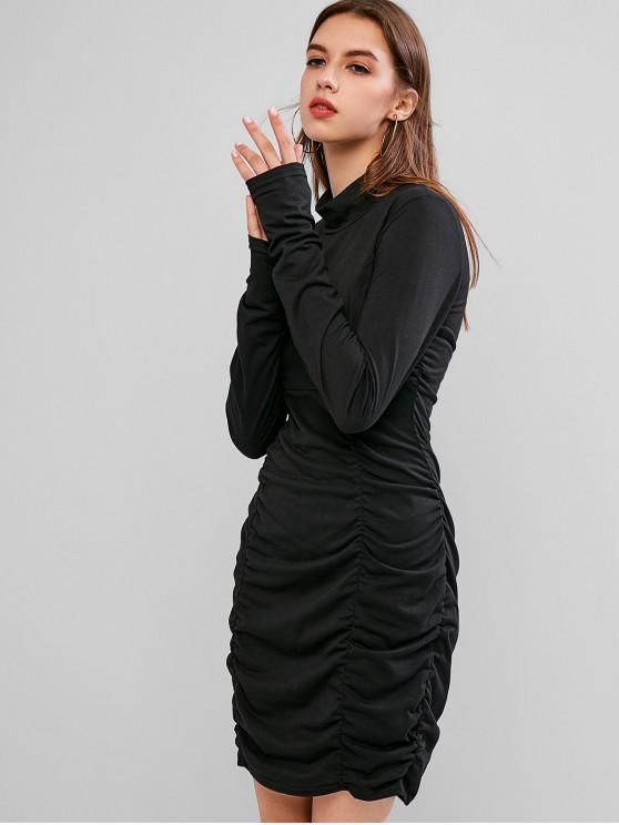 fancy High Neck Ruched Long Sleeve Bodycon Dress - BLACK M