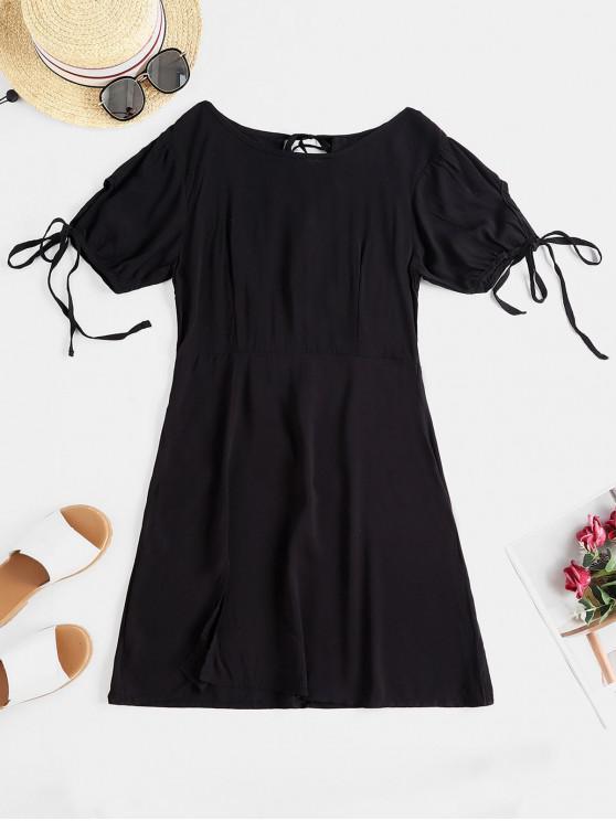 women's Tied Cut Out Mini A Line Dress - BLACK M