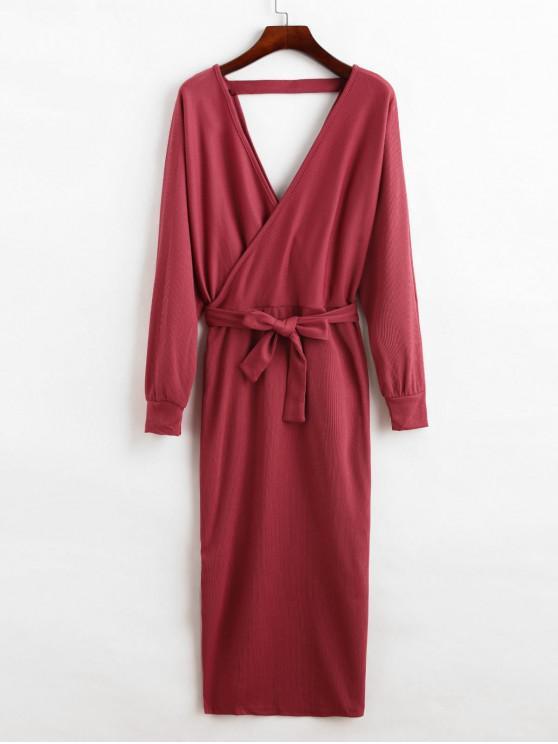 new Slit Solid Color Belted Surplice Dress - PLUM PIE XL