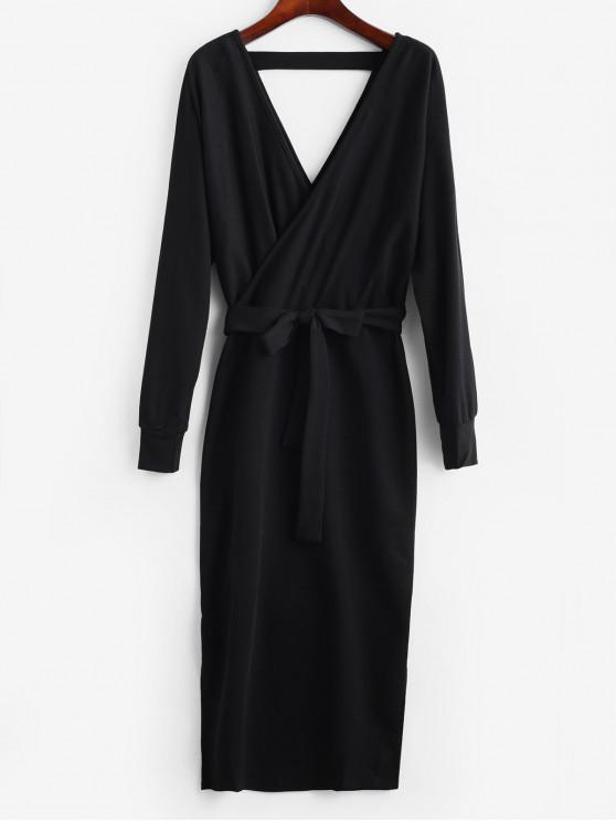 trendy Slit Solid Color Belted Surplice Dress - BLACK M