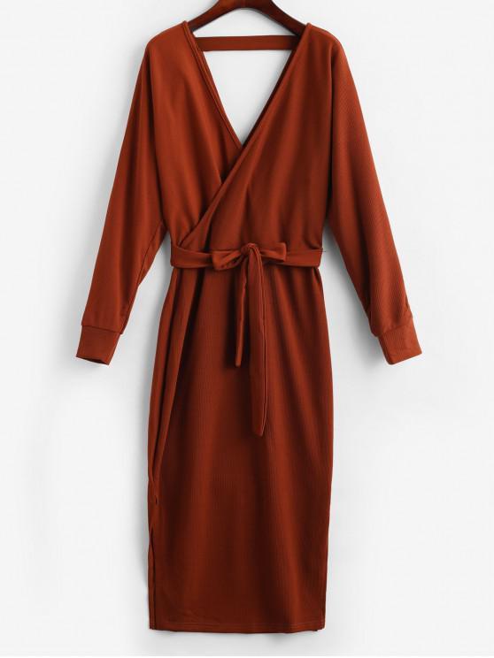 fashion Slit Solid Color Belted Surplice Dress - BROWN S