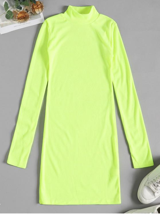 buy Mock Neck Neon Solid Bodycon Dress - GREEN YELLOW S