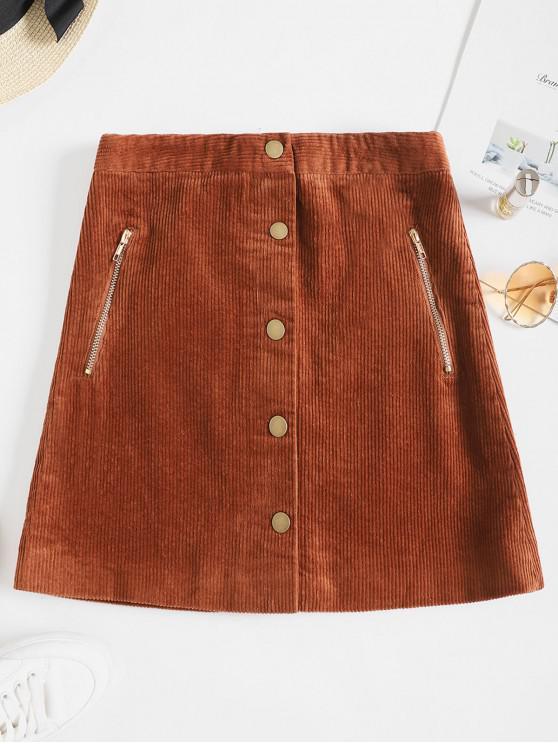 trendy Buttons Zipper Pockets Corduroy Solid Skirt - BROWN XL