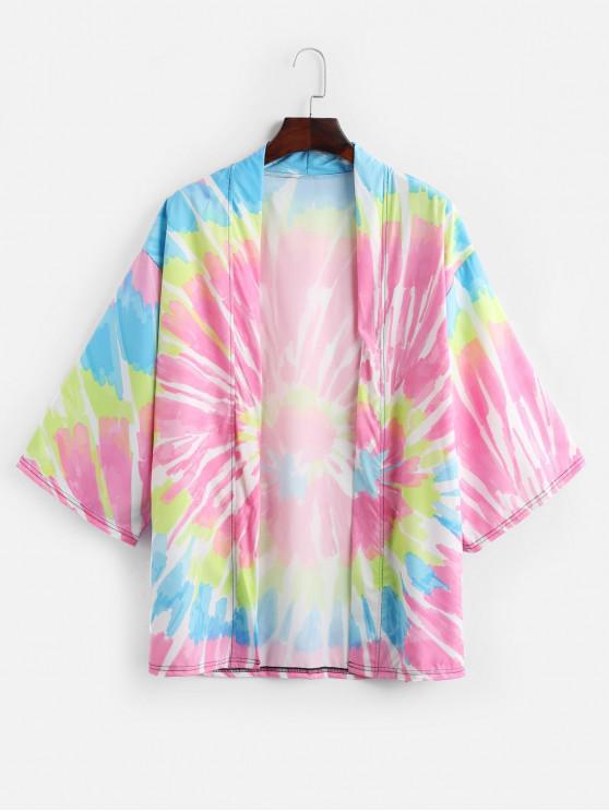 shop Tie Dye Print Open Front Kimono Cardigan - HOT PINK XS