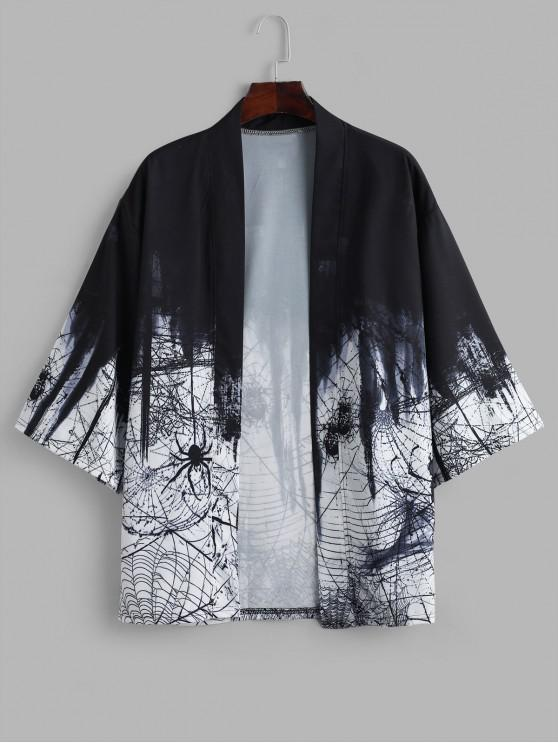affordable Halloween Spider Net Ombre Print Kimono Cardigan - BLACK L