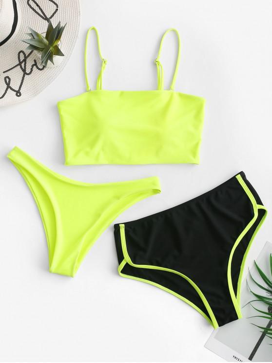 shops ZAFUL Neon High Cut Piping Three Piece Tankini Swimsuit - CHARTREUSE L
