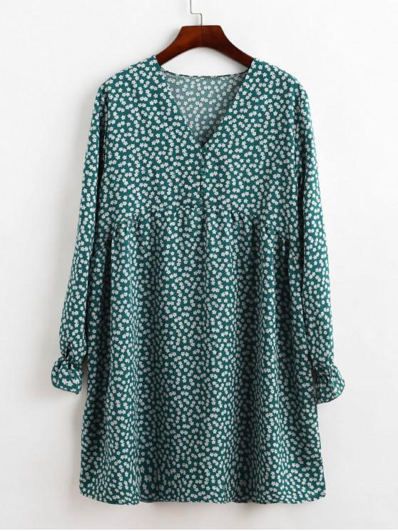 womens Button Loop Front Ditsy Floral Long Sleeve Mini Dress - GREENISH BLUE M