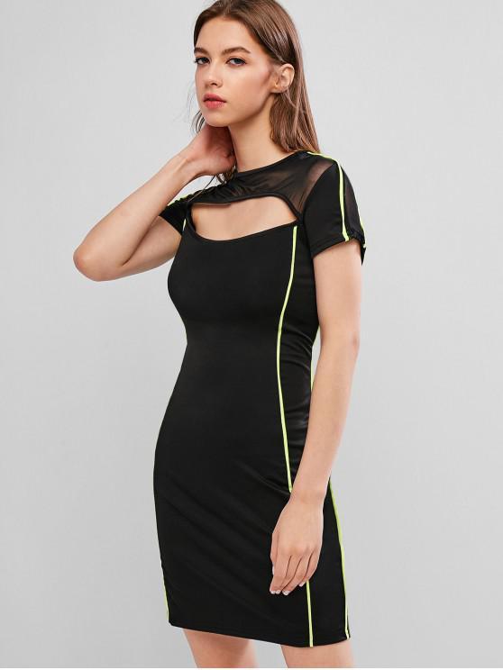 fancy Cut Out Neon Stripe Trim Bodycon Dress - NIGHT L