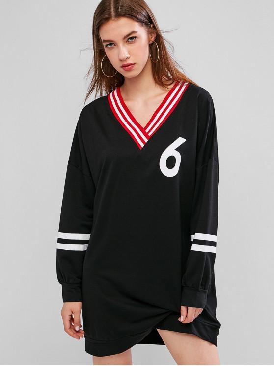 outfits Striped Panel Drop Shoulder V Neck Sweatshirt Dress - BLACK L