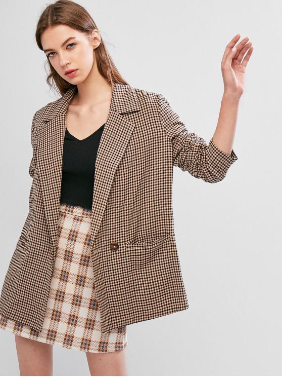 womens ZAFUL Plaid Pocket Longline Blazer - MULTI L