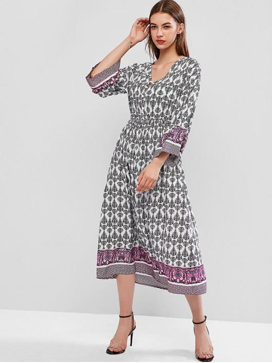 ladies Button Loop Long Sleeve Printed Midi Dress - MULTI-A M