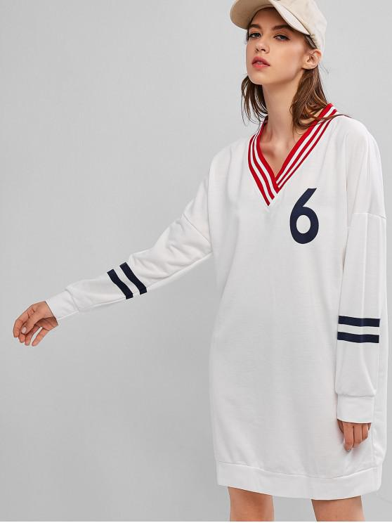 best Striped Panel Drop Shoulder V Neck Sweatshirt Dress - WHITE M