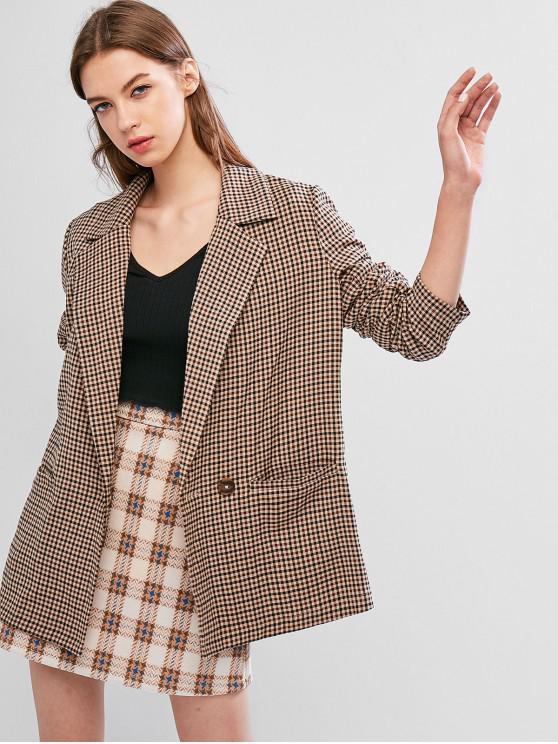 trendy ZAFUL Plaid Pocket Longline Blazer - MULTI S