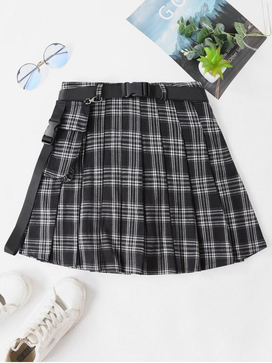 chic Pleated Plaid Belted Skirt with Safety Shorts - BLACK L