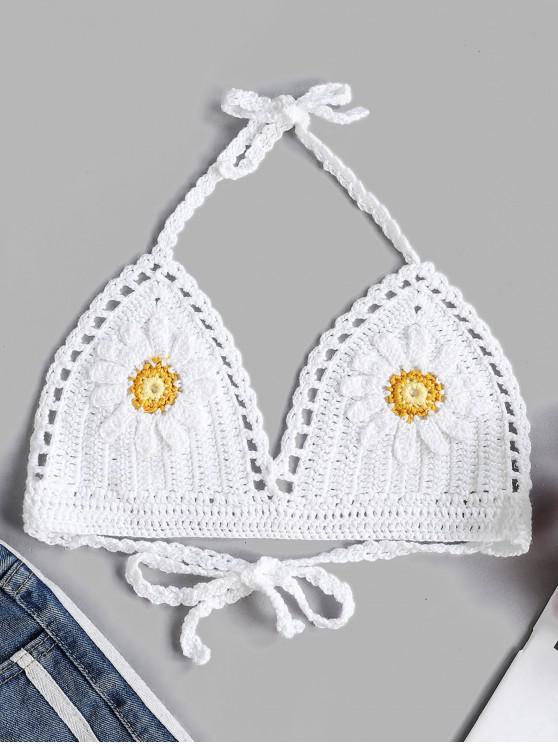 Top de bikini de ganchillo floral halter - Blanco M