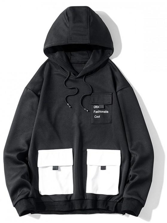 fashion Letter Print Flap Pocket Spliced Pullover Hoodie - BLACK M