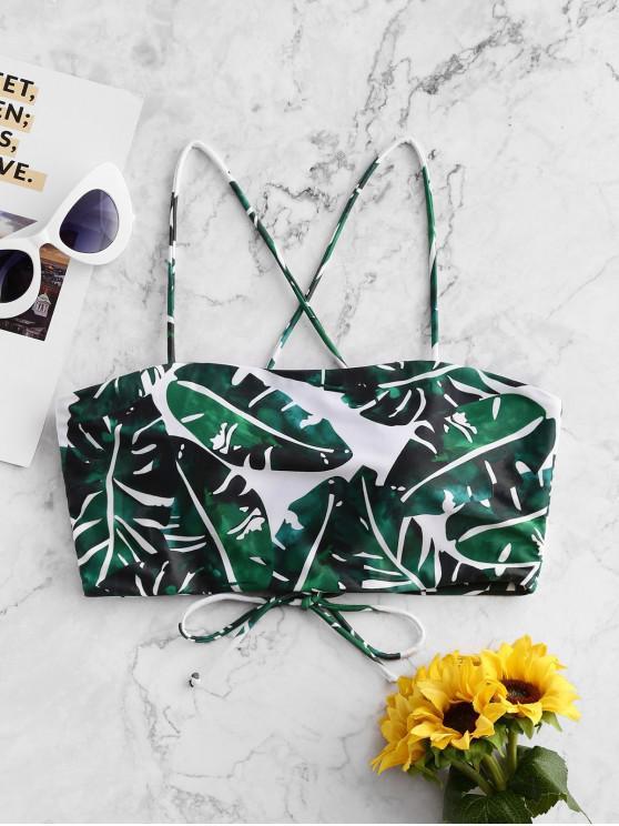 chic ZAFUL Tropical Leaf Lace Up Padded Bikini Top - MULTI-A L