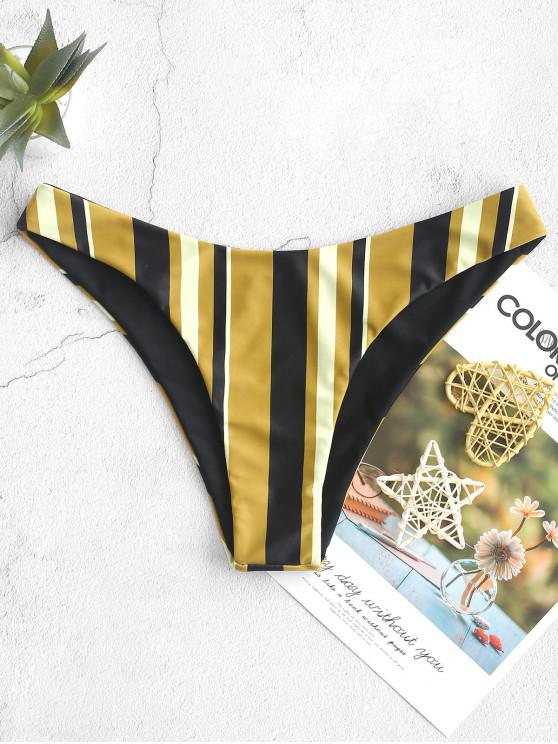 ladies ZAFUL Striped High Cut Bikini Bottom - GOLDEN BROWN L