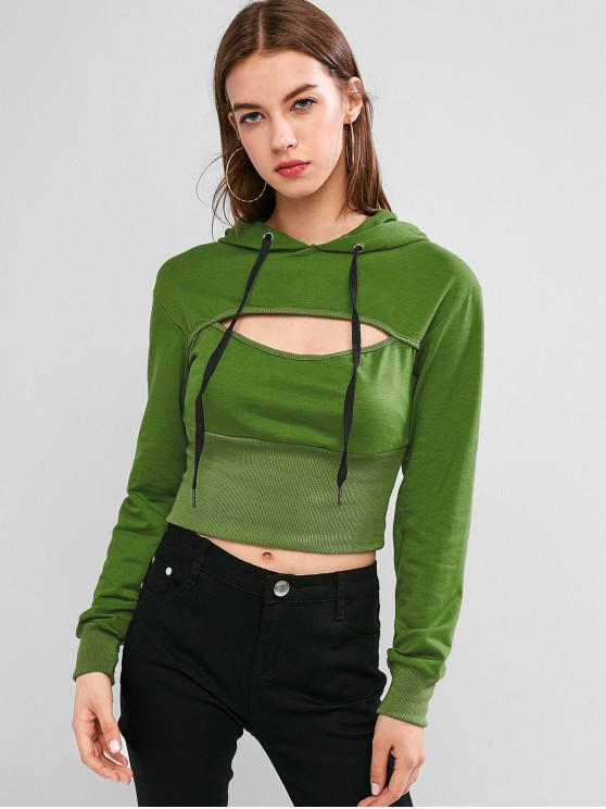 unique Drawstring Cut Out Ribbed Hem Hoodie - DEEP GREEN M