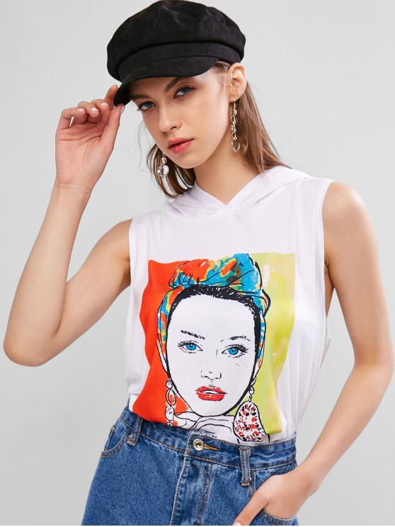 lady Girl Graphic Hooded Short Tank Top - WHITE S