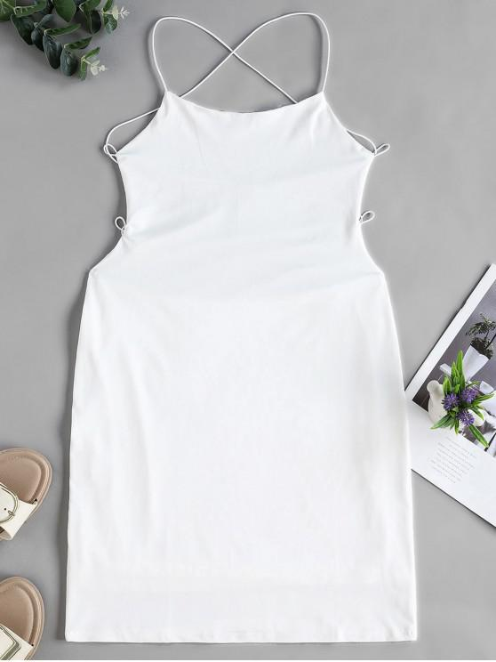 womens Backless Criss Cross Bodycon Cami Dress - WHITE XL