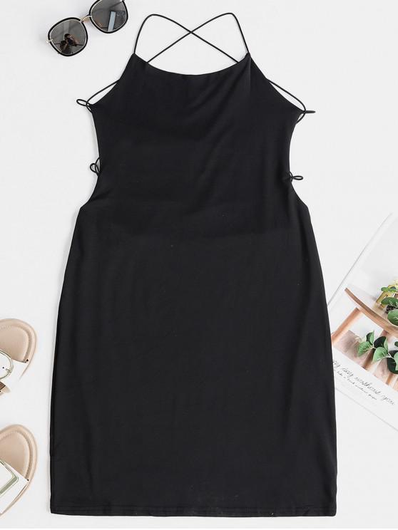 Открытая спина Перекрестные шнурки Ками Платье - Чёрный XL