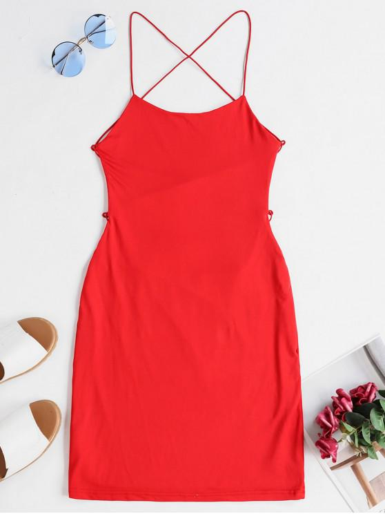women Backless Criss Cross Bodycon Cami Dress - RED S