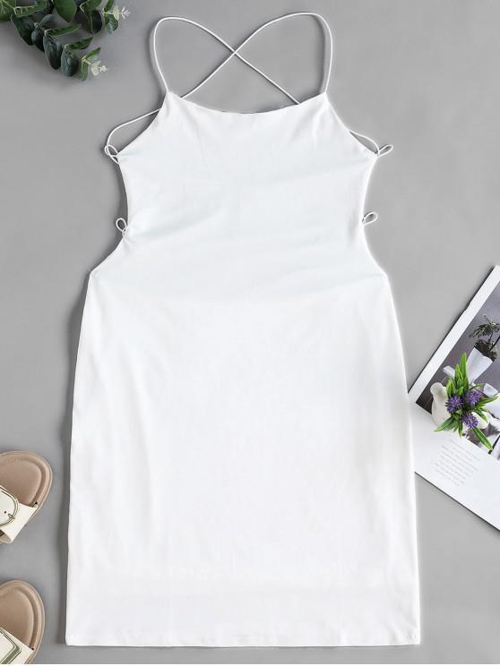 Rückenfreies Figurbetontes Kreuzes und Queres Chasuble Kleid - Weiß S