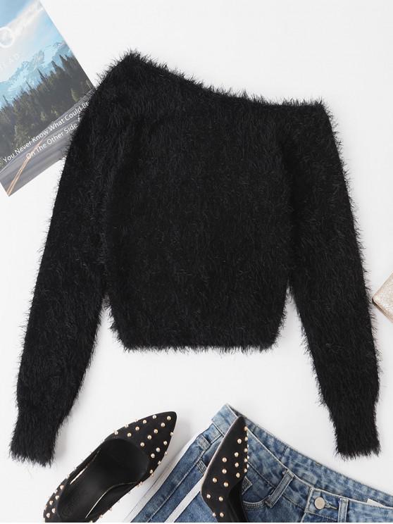 fancy One Shoulder Fuzzy Plain Sweater - BLACK M