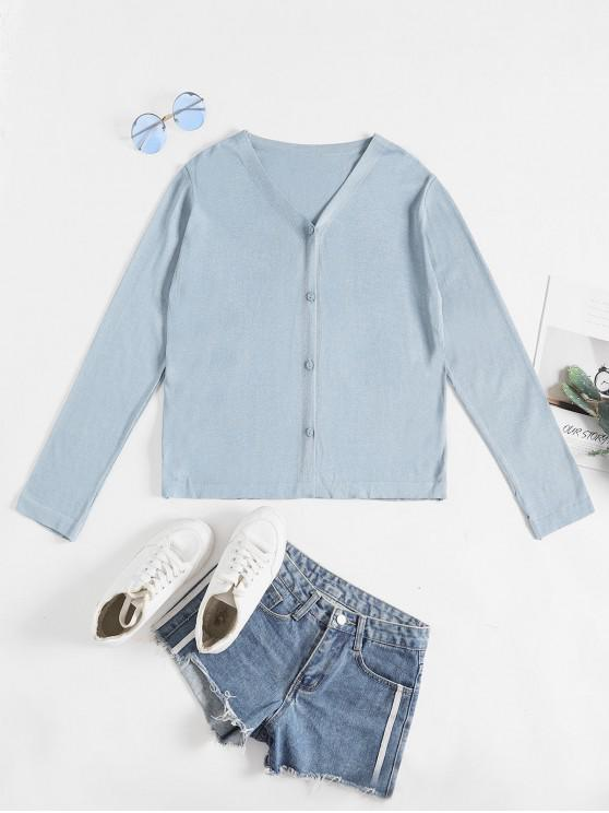 outfits V Neck Button Up Plain Cardigan - BABY BLUE ONE SIZE