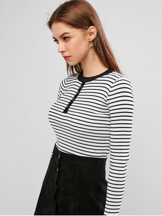 chic Slim Mock Button Striped Knitwear - MULTI-A M