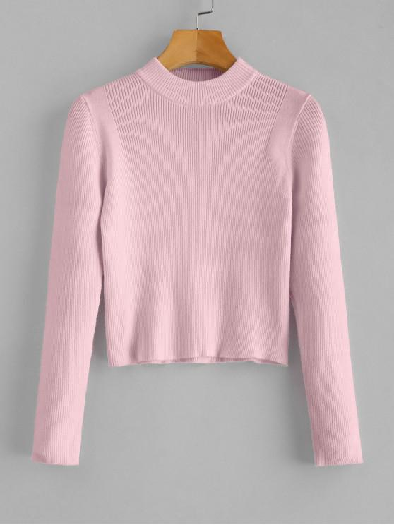 fancy Mock Neck Cropped Pullover Sweater - PINK ONE SIZE