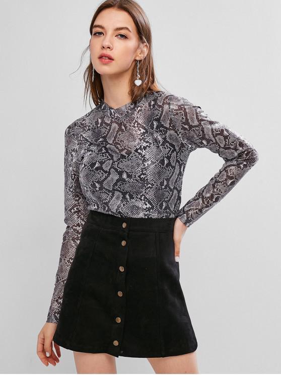 fashion ZAFUL Snakeskin Crew Neck Long Sleeve T-shirt - BLACK S