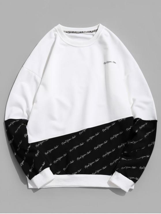Sudadera con capucha y hombros descubiertos con estampado de letras - Negro 2XL