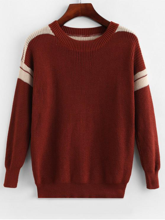 women Pullover Stripes Panel Crew Neck Sweater - BLOOD RED L