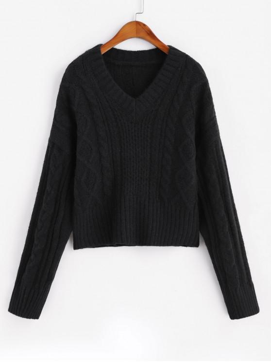 ladies Cable Knit V Neck Solid Sweater - BLACK ONE SIZE
