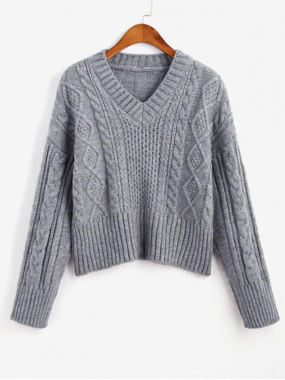 fashion Cable Knit V Neck Solid Sweater - DARK GRAY ONE SIZE