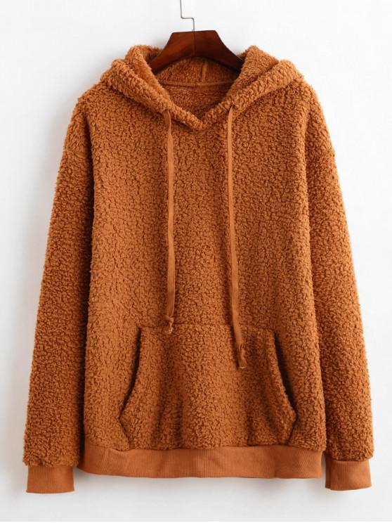 ladies ZAFUL Kangaroo Pocket Drawstring Tunic Fluffy Teddy Hoodie - LIGHT BROWN L
