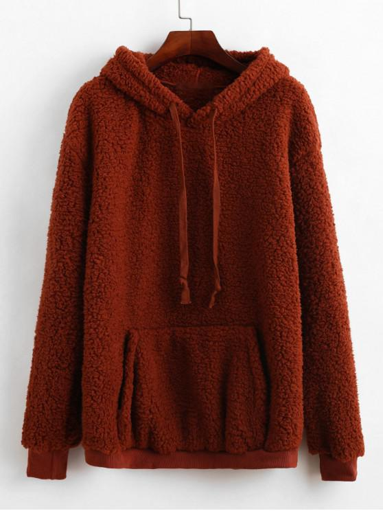 unique ZAFUL Kangaroo Pocket Drawstring Tunic Fluffy Teddy Hoodie - CHESTNUT S