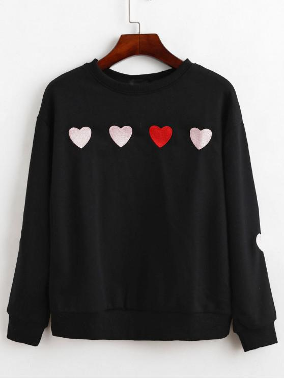 trendy Heart Embroidered French Terry Drop Shoulder Sweatshirt - BLACK S